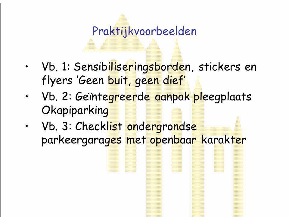 Geïntegreerde aanpak Okapiparking (vervolg) Situationele preventie: herinrichting parking (veiligheidsgevoel parkeerders en passanten; zichtbaarheid omwonenden): o.a.