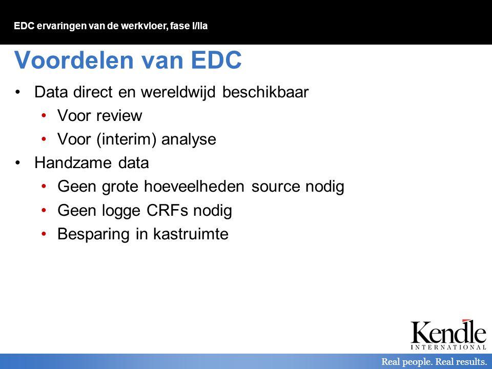 EDC ervaringen van de werkvloer, fase I/IIa Real people. Real results. Voordelen van EDC Data direct en wereldwijd beschikbaar Voor review Voor (inter
