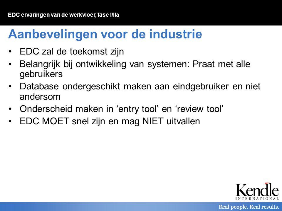 EDC ervaringen van de werkvloer, fase I/IIa Real people. Real results. Aanbevelingen voor de industrie EDC zal de toekomst zijn Belangrijk bij ontwikk