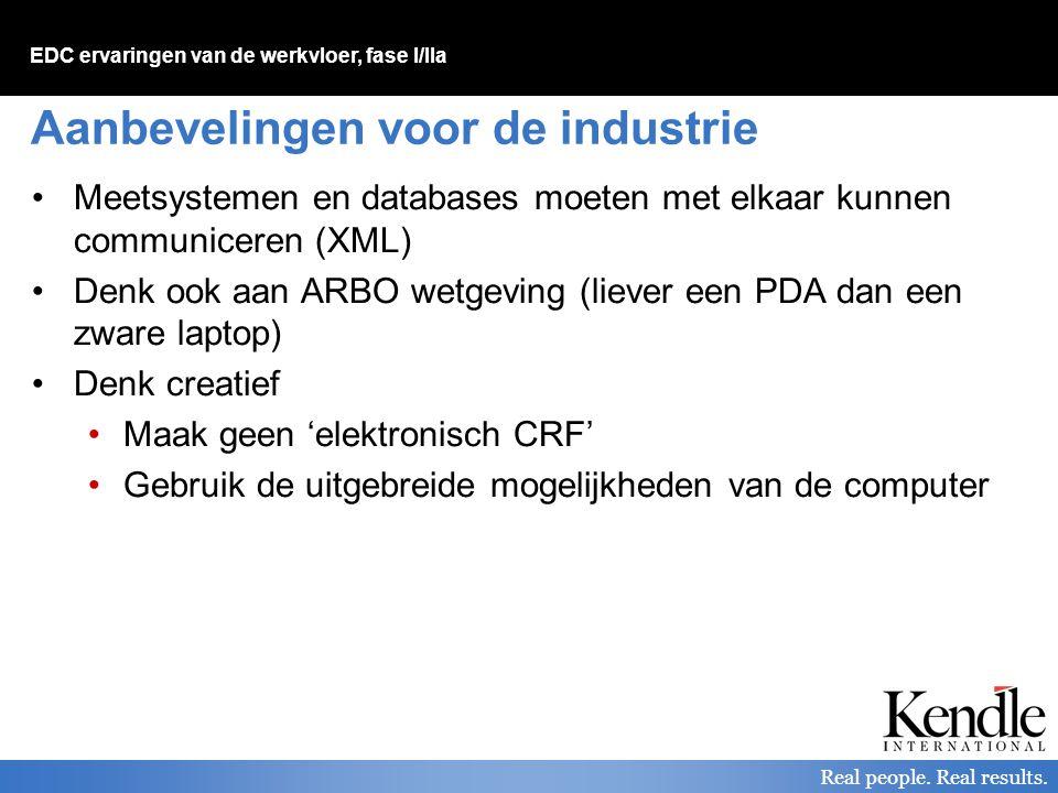 EDC ervaringen van de werkvloer, fase I/IIa Real people. Real results. Aanbevelingen voor de industrie Meetsystemen en databases moeten met elkaar kun