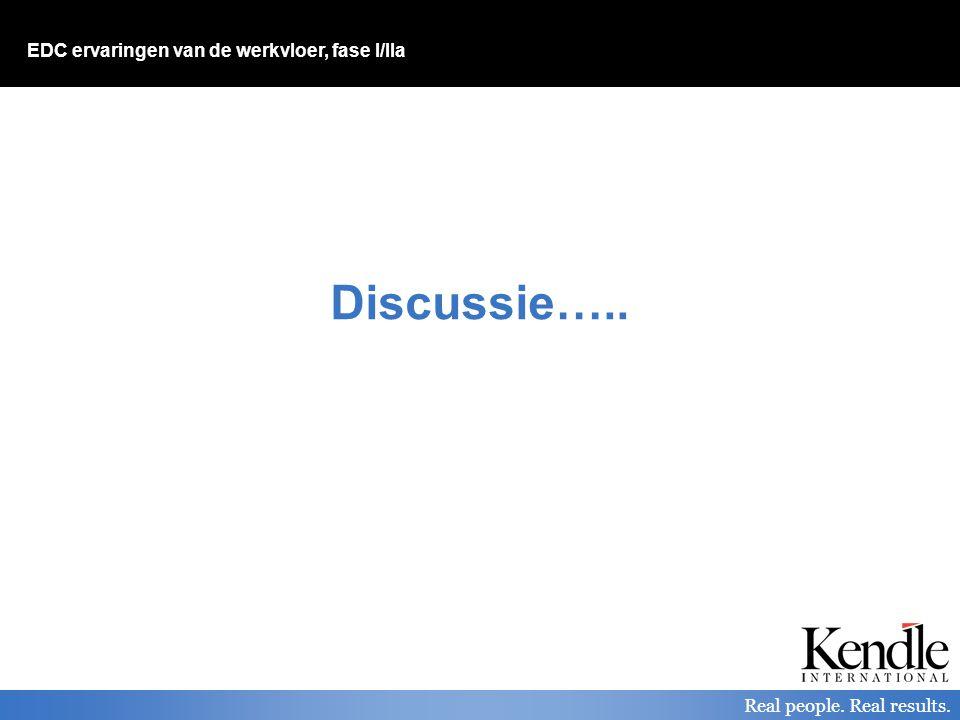 EDC ervaringen van de werkvloer, fase I/IIa Real people. Real results. Discussie…..