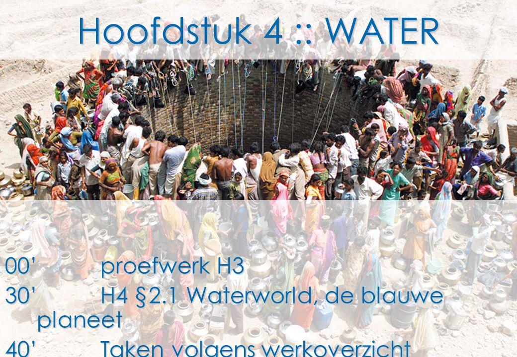 Hoofdstuk 4 :: WATER 00'proefwerk H3 30'H4 §2.1 Waterworld, de blauwe planeet 40'Taken volgens werkoverzicht