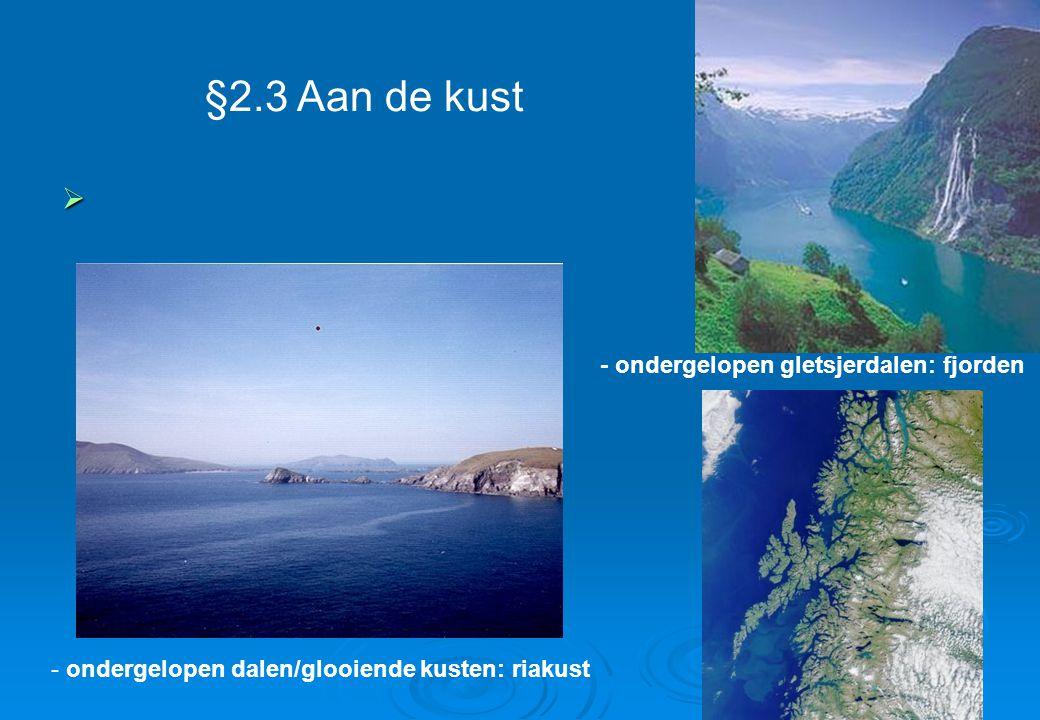 §2.3 Aan de kust - ondergelopen dalen/glooiende kusten: riakust - ondergelopen gletsjerdalen: fjorden