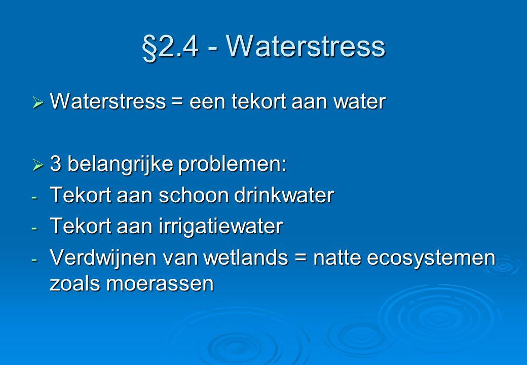 §2.4 - Waterstress  Waterstress = een tekort aan water  3 belangrijke problemen: - Tekort aan schoon drinkwater - Tekort aan irrigatiewater - Verdwi