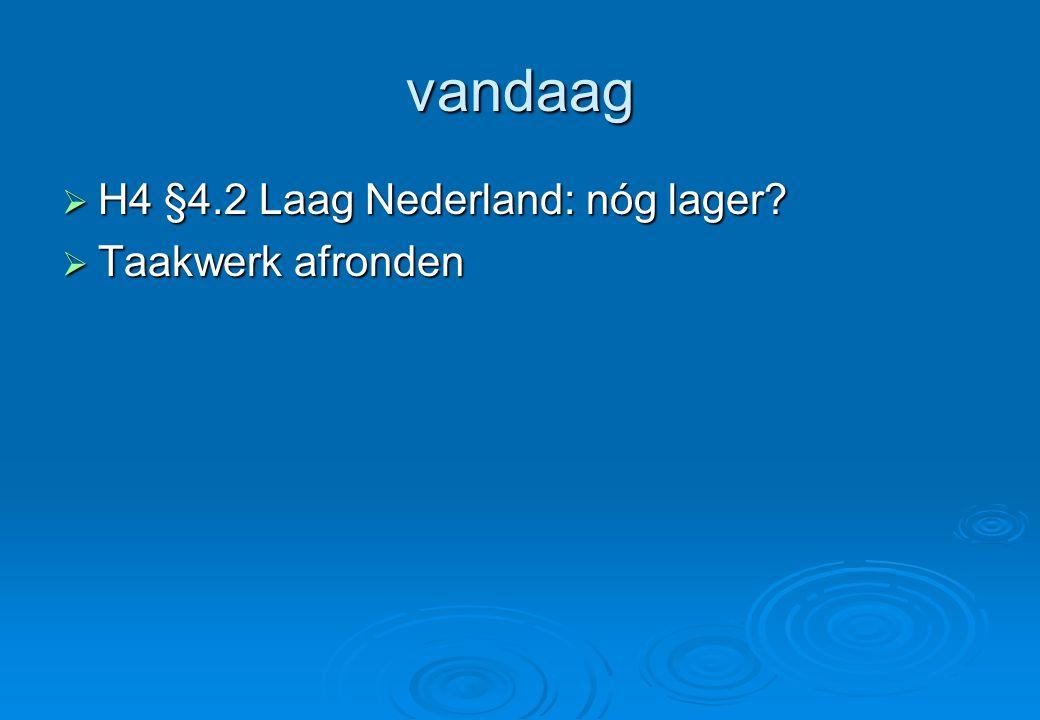 vandaag  H4 §4.2 Laag Nederland: nóg lager?  Taakwerk afronden