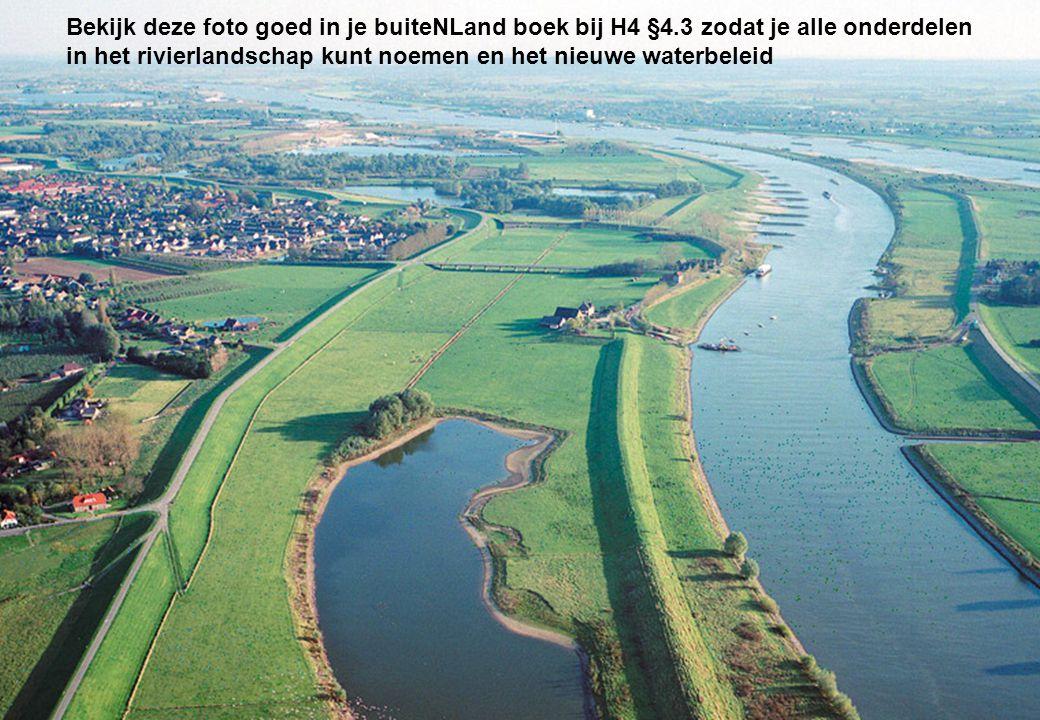 Bekijk deze foto goed in je buiteNLand boek bij H4 §4.3 zodat je alle onderdelen in het rivierlandschap kunt noemen en het nieuwe waterbeleid