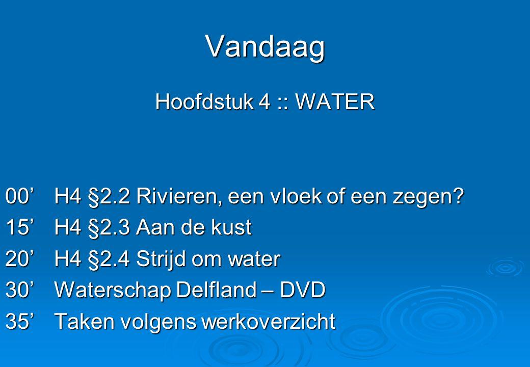Vandaag Hoofdstuk 4 :: WATER 00'H4 §2.2 Rivieren, een vloek of een zegen? 15'H4 §2.3 Aan de kust 20'H4 §2.4 Strijd om water 30'Waterschap Delfland – D