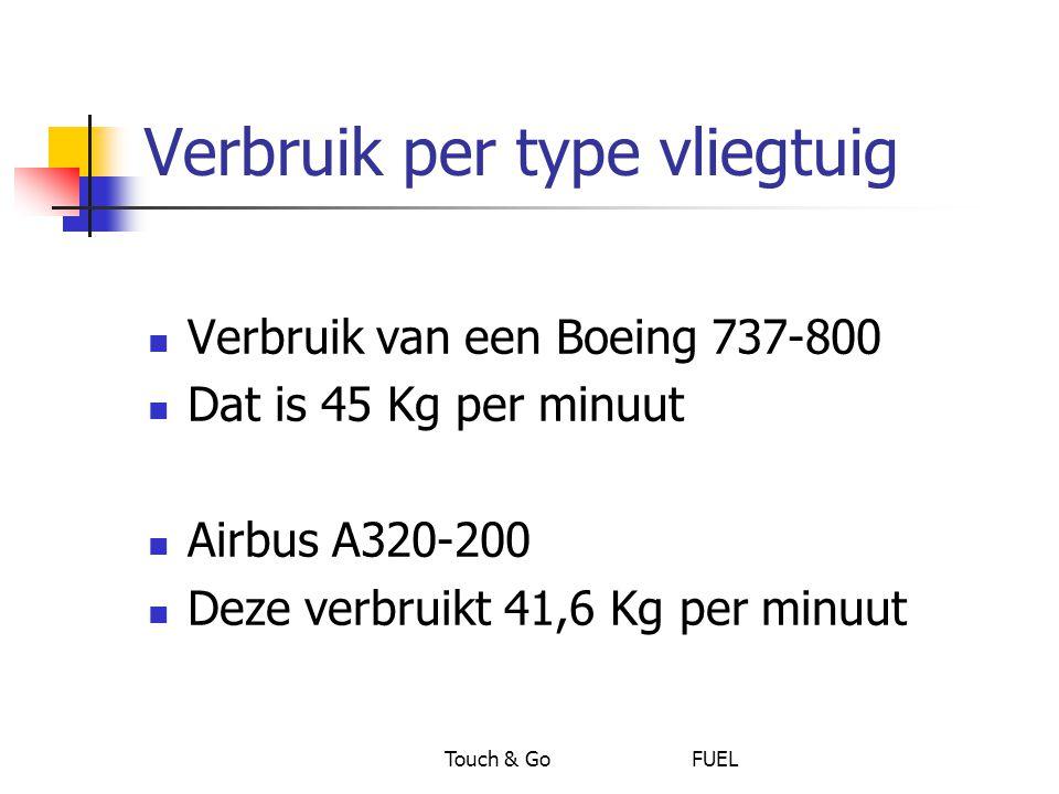 Touch & Go FUEL Verbruik per type vliegtuig Verbruik van een Boeing 737-800 Dat is 45 Kg per minuut Airbus A320-200 Deze verbruikt 41,6 Kg per minuut