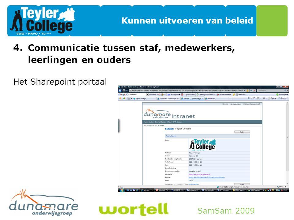 SamSam 2009 Kunnen uitvoeren van beleid 4.Communicatie tussen staf, medewerkers, leerlingen en ouders Het Sharepoint portaal