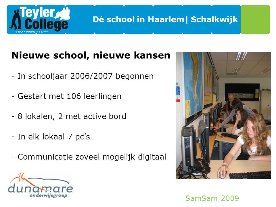 SamSam 2009 Dé school in Haarlem| Schalkwijk Nieuwe school, nieuwe kansen -In schooljaar 2006/2007 begonnen -Gestart met 106 leerlingen -8 lokalen, 2