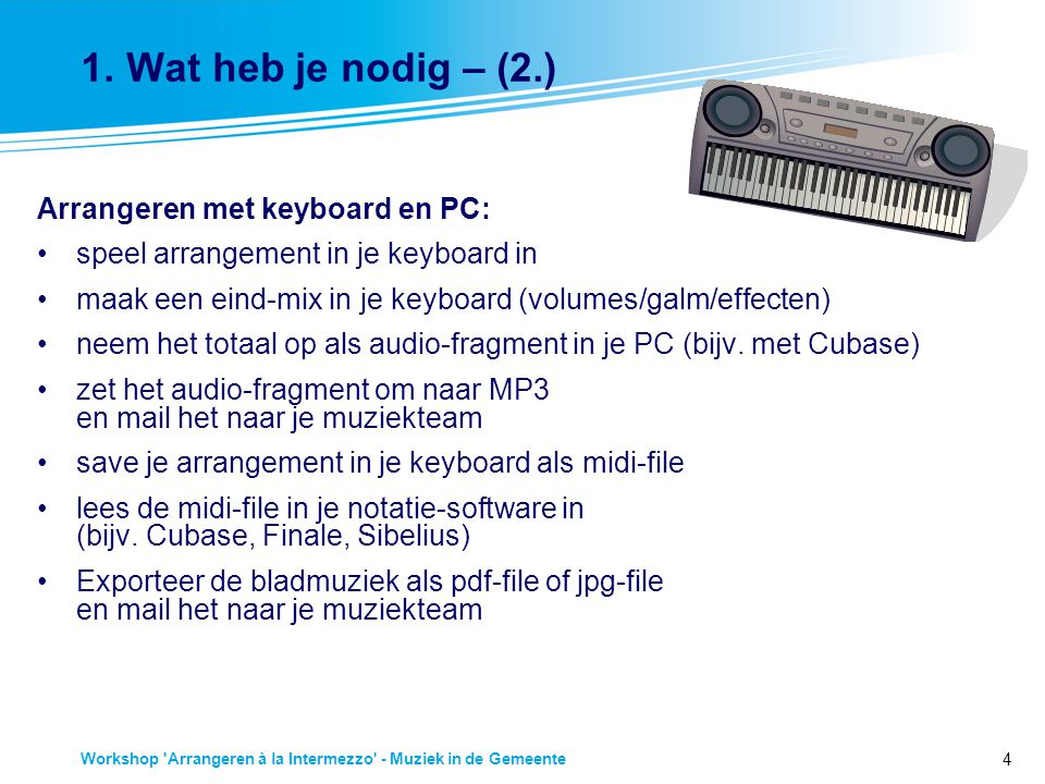 4 Workshop 'Arrangeren à la Intermezzo' - Muziek in de Gemeente 1. Wat heb je nodig – (2.) Arrangeren met keyboard en PC: speel arrangement in je keyb