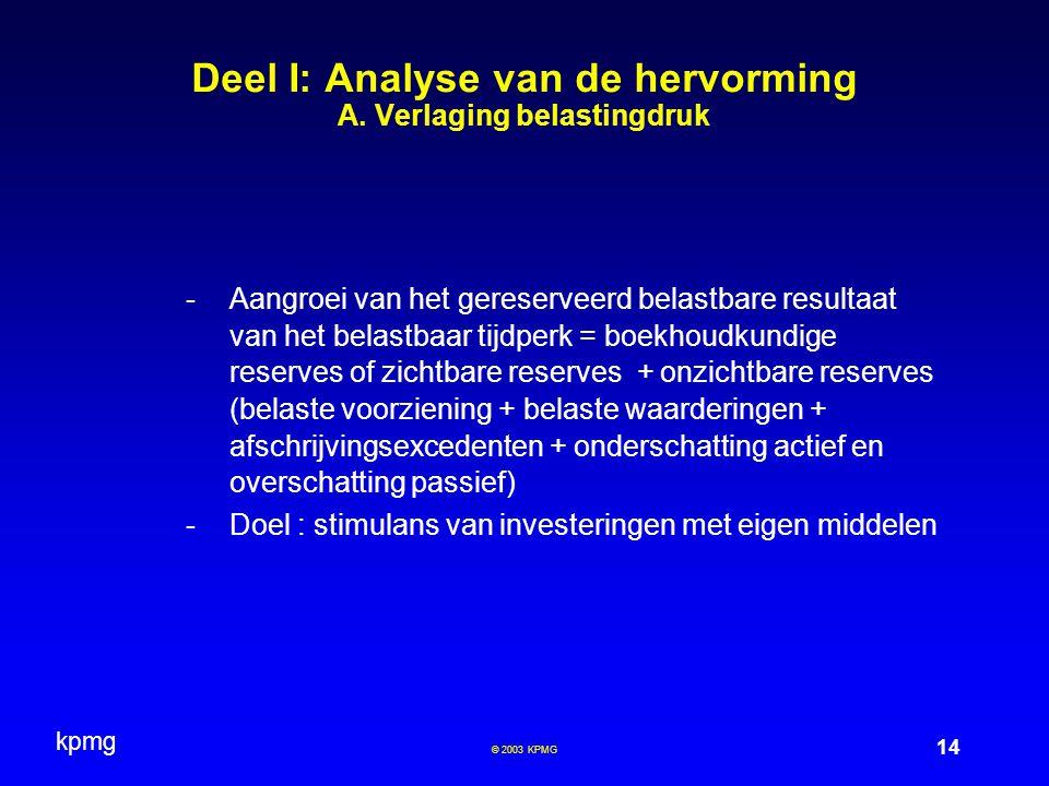 kpmg 14 © 2003 KPMG Deel I: Analyse van de hervorming A. Verlaging belastingdruk -Aangroei van het gereserveerd belastbare resultaat van het belastbaa