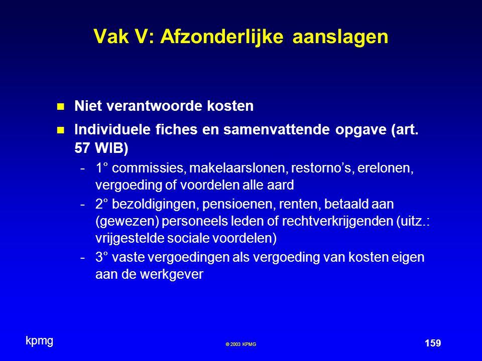 kpmg 159 © 2003 KPMG Vak V: Afzonderlijke aanslagen Niet verantwoorde kosten Individuele fiches en samenvattende opgave (art.