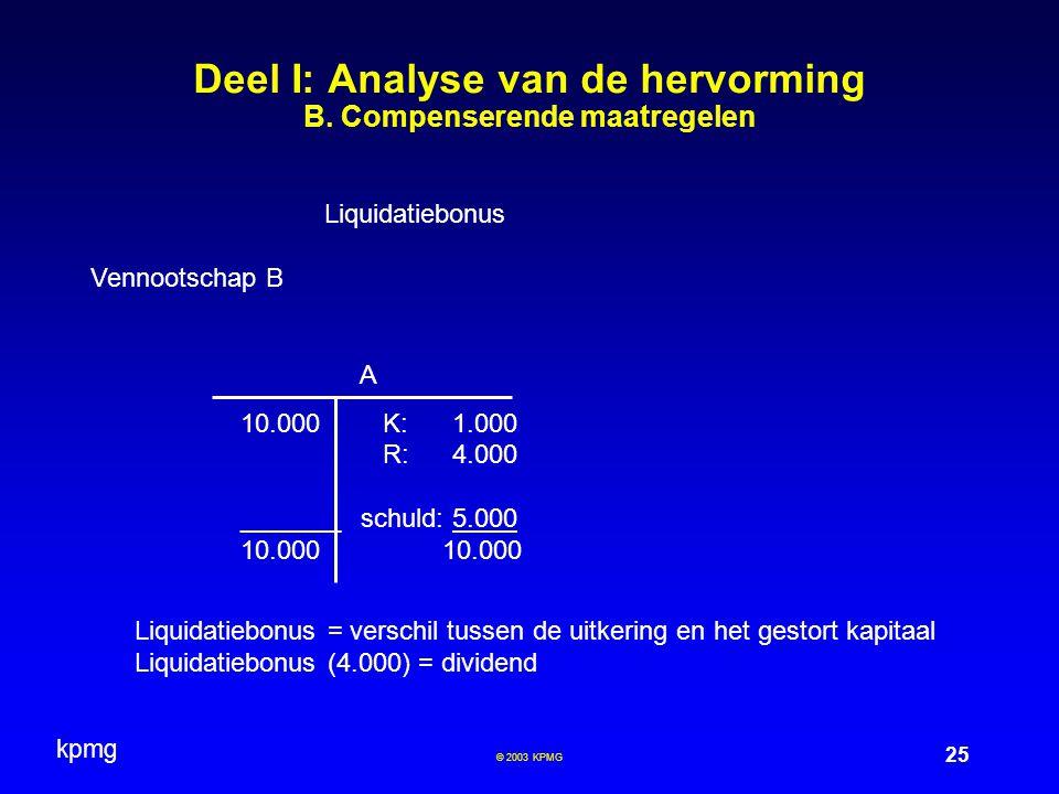kpmg 25 © 2003 KPMG Deel I: Analyse van de hervorming B. Compenserende maatregelen Liquidatiebonus Vennootschap B A 10.000 K:1.000 R:4.000 _______ sch