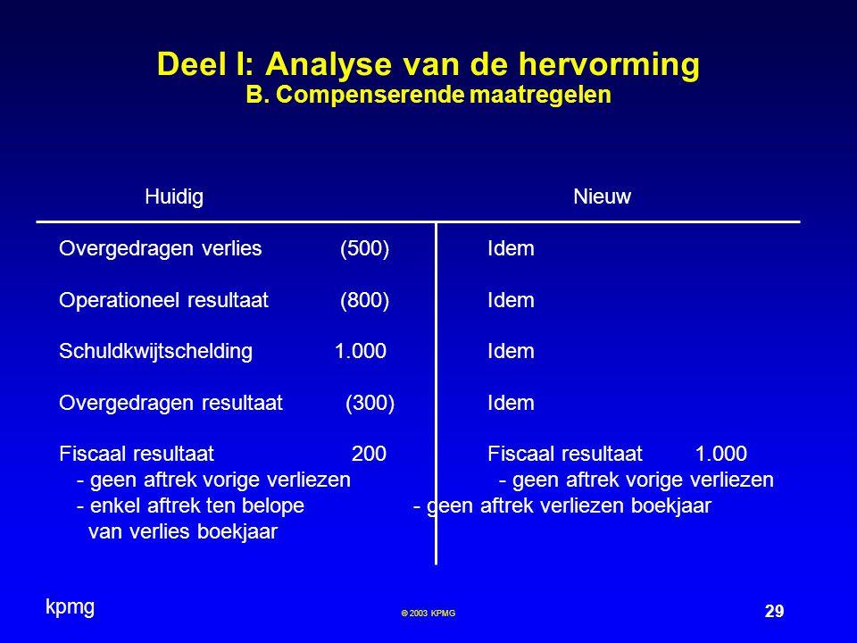 kpmg 29 © 2003 KPMG Deel I: Analyse van de hervorming B.