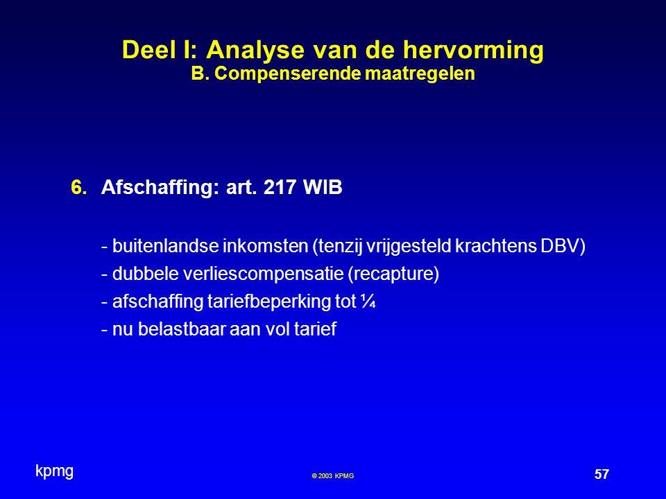 kpmg 57 © 2003 KPMG  Afschaffing: art. 217 WIB - buitenlandse inkomsten (tenzij vrijgesteld krachtens DBV) - dubbele verliescompensatie (recapture)