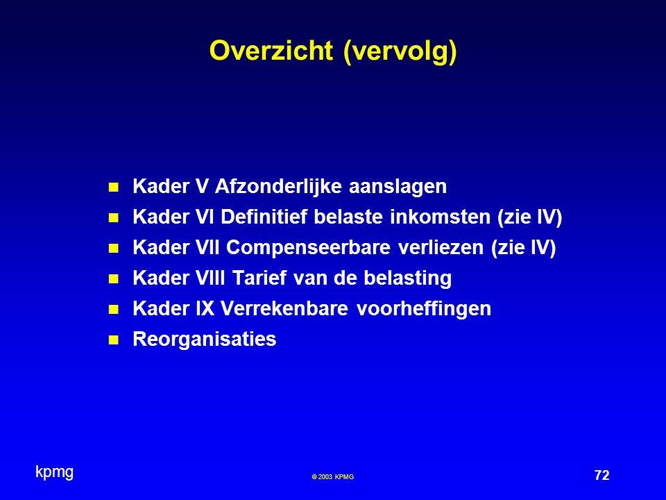 kpmg 72 © 2003 KPMG Overzicht (vervolg) Kader V Afzonderlijke aanslagen Kader VI Definitief belaste inkomsten (zie IV) Kader VII Compenseerbare verlie