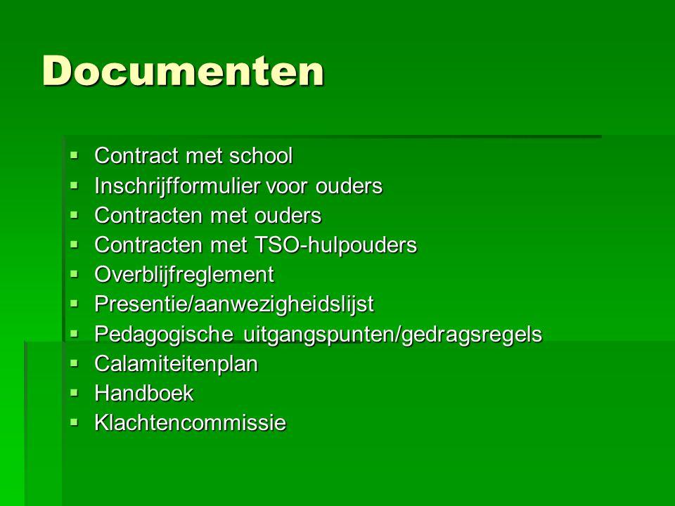 Documenten  Contract met school  Inschrijfformulier voor ouders  Contracten met ouders  Contracten met TSO-hulpouders  Overblijfreglement  Prese
