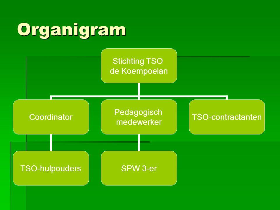 Organigram Stichting TSO de Koempoelan Coördinator TSO- hulpouders Pedagogisch medewerker SPW 3-er TSO- contractanten