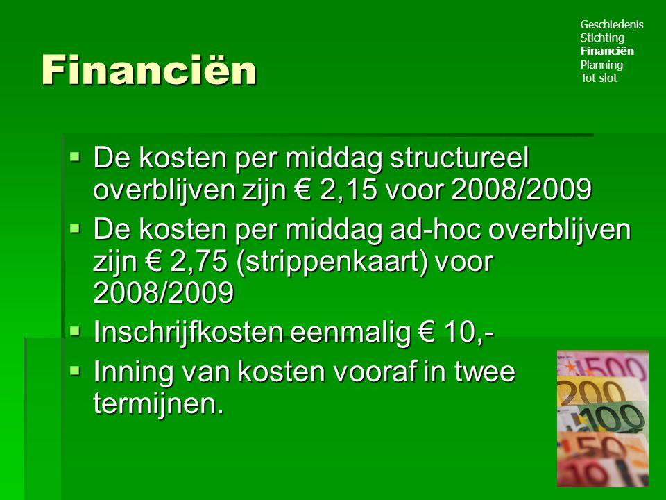 Financiën  De kosten per middag structureel overblijven zijn € 2,15 voor 2008/2009  De kosten per middag ad-hoc overblijven zijn € 2,75 (strippenkaart) voor 2008/2009  Inschrijfkosten eenmalig € 10,-  Inning van kosten vooraf in twee termijnen.