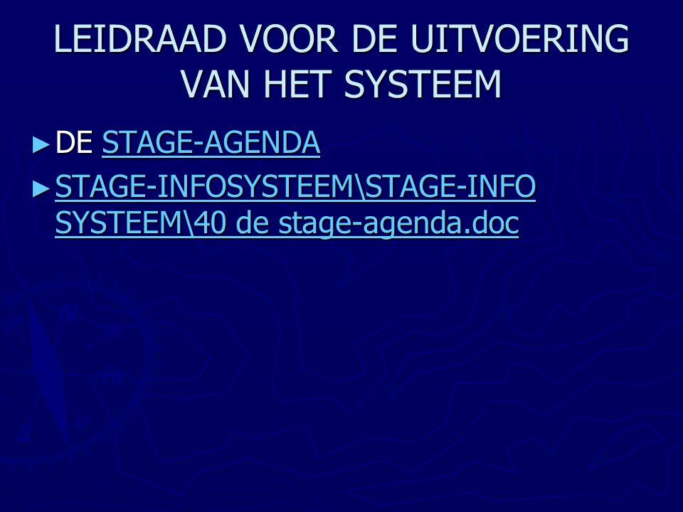 LEIDRAAD VOOR DE UITVOERING VAN HET SYSTEEM ► DE STAGE-AGENDA STAGE-AGENDA ► STAGE-INFOSYSTEEM\STAGE-INFO SYSTEEM\40 de stage-agenda.doc STAGE-INFOSYS