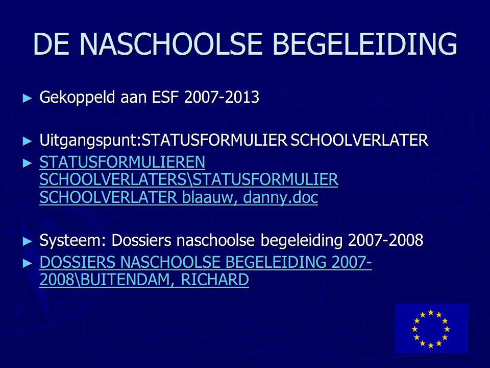 DE NASCHOOLSE BEGELEIDING ► Gekoppeld aan ESF 2007-2013 ► Uitgangspunt:STATUSFORMULIER SCHOOLVERLATER ► STATUSFORMULIEREN SCHOOLVERLATERS\STATUSFORMUL