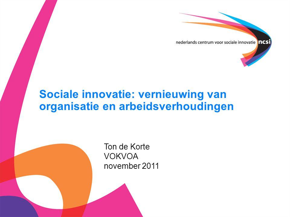 Sociale innovatie: vernieuwing van organisatie en arbeidsverhoudingen Ton de Korte VOKVOA november 2011