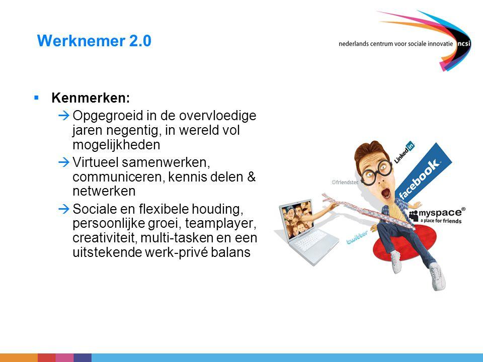 Werknemer 2.0  Kenmerken:  Opgegroeid in de overvloedige jaren negentig, in wereld vol mogelijkheden  Virtueel samenwerken, communiceren, kennis de