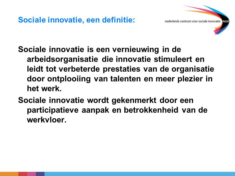 Sociale innovatie, een definitie: Sociale innovatie is een vernieuwing in de arbeidsorganisatie die innovatie stimuleert en leidt tot verbeterde prest