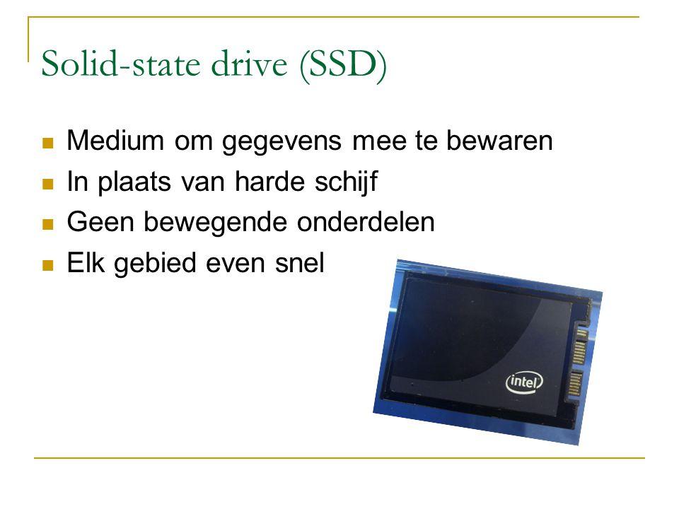 Solid-state drive (SSD) Medium om gegevens mee te bewaren In plaats van harde schijf Geen bewegende onderdelen Elk gebied even snel