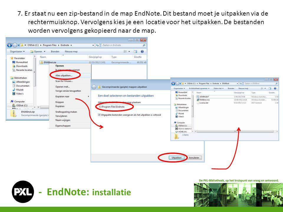 7. Er staat nu een zip-bestand in de map EndNote. Dit bestand moet je uitpakken via de rechtermuisknop. Vervolgens kies je een locatie voor het uitpak