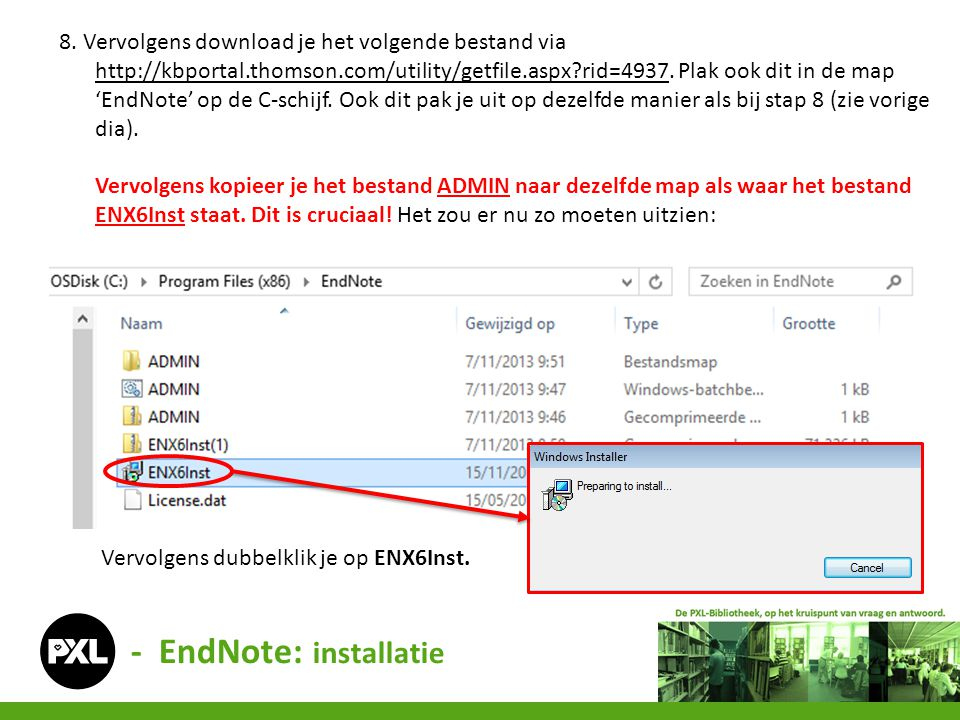 8. Vervolgens download je het volgende bestand via http://kbportal.thomson.com/utility/getfile.aspx?rid=4937. Plak ook dit in de map 'EndNote' op de C