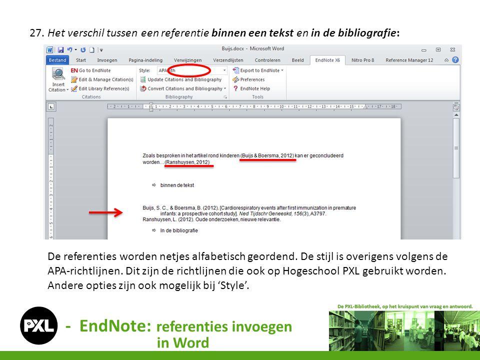 - EndNote: referenties invoegen in Word 27. Het verschil tussen een referentie binnen een tekst en in de bibliografie: De referenties worden netjes al