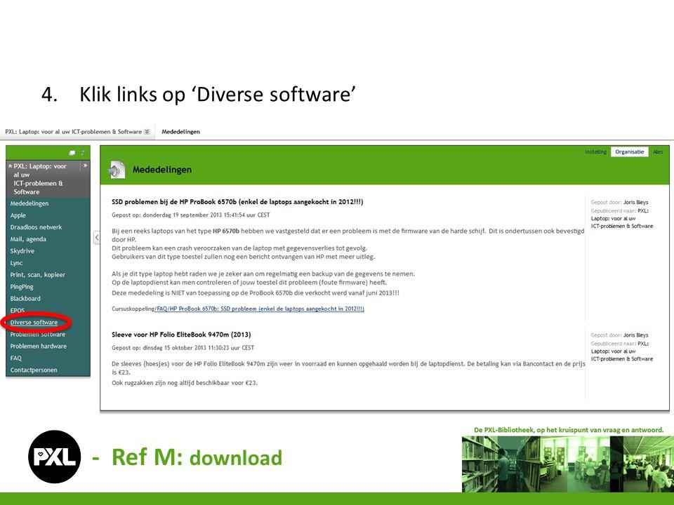 4.Klik links op 'Diverse software' - Ref M: download