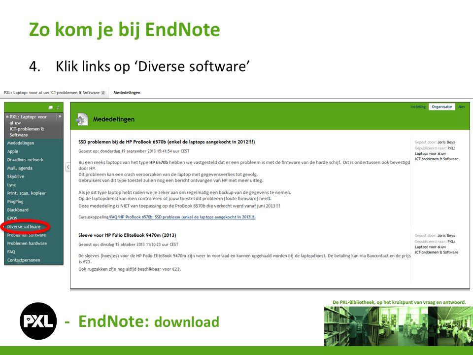 4.Klik links op 'Diverse software' Zo kom je bij EndNote - EndNote: download