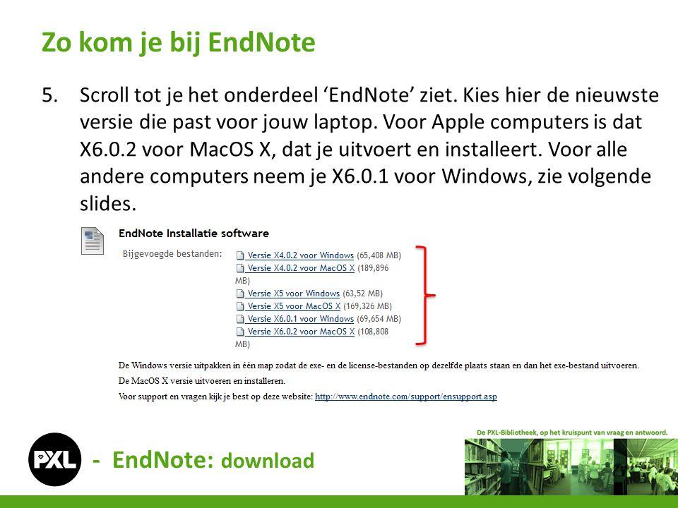 5.Scroll tot je het onderdeel 'EndNote' ziet. Kies hier de nieuwste versie die past voor jouw laptop. Voor Apple computers is dat X6.0.2 voor MacOS X,