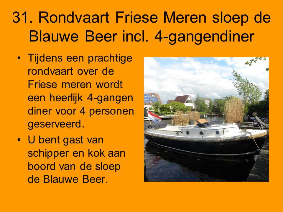 31. Rondvaart Friese Meren sloep de Blauwe Beer incl. 4-gangendiner Tijdens een prachtige rondvaart over de Friese meren wordt een heerlijk 4-gangen d