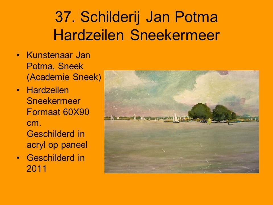 37. Schilderij Jan Potma Hardzeilen Sneekermeer Kunstenaar Jan Potma, Sneek (Academie Sneek) Hardzeilen Sneekermeer Formaat 60X90 cm. Geschilderd in a