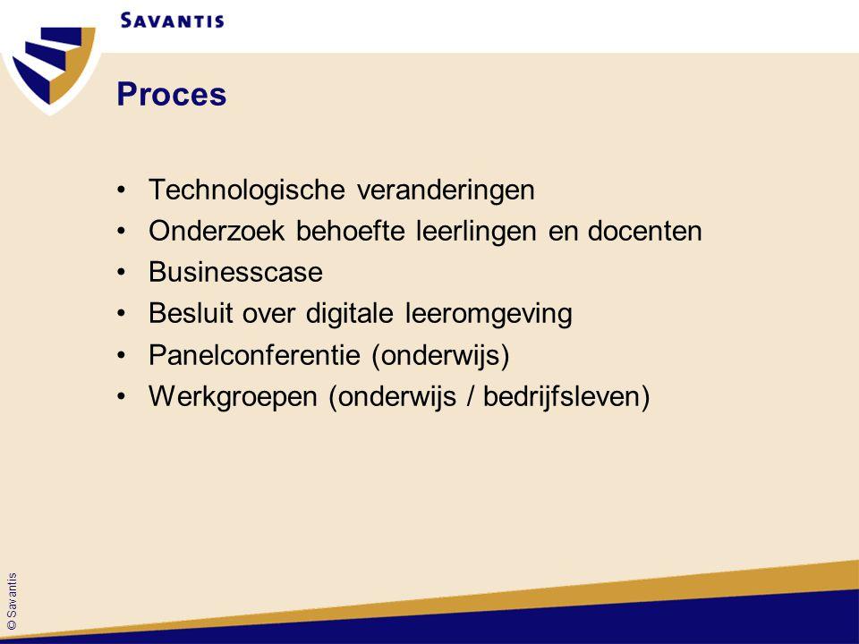 © Savantis Proces Technologische veranderingen Onderzoek behoefte leerlingen en docenten Businesscase Besluit over digitale leeromgeving Panelconferen