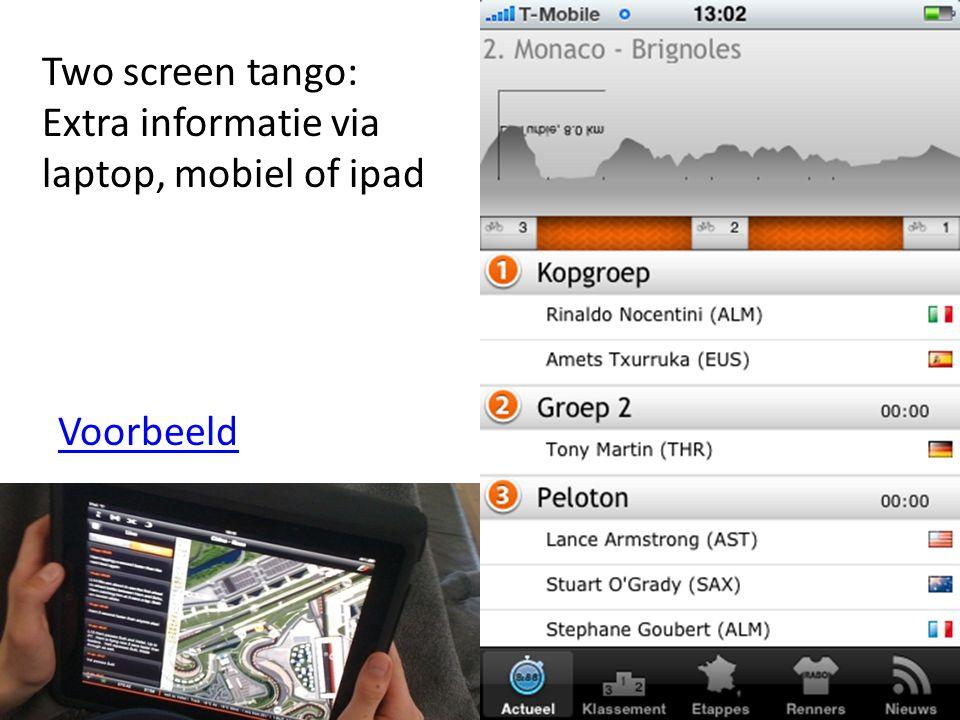 23 Two screen tango: Extra informatie via laptop, mobiel of ipad Voorbeeld