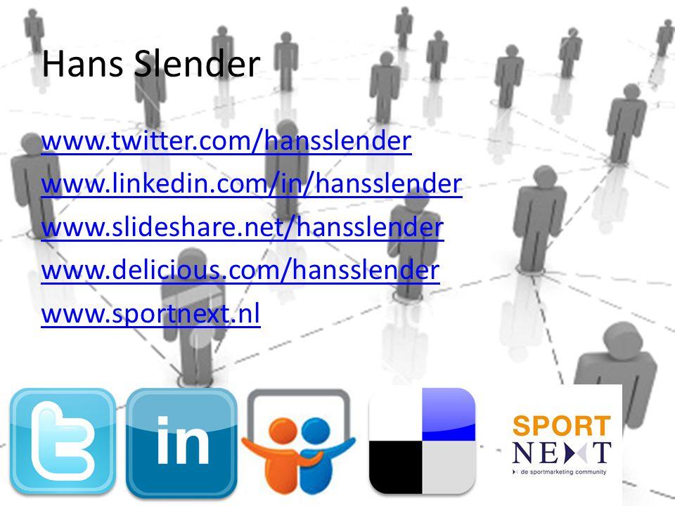 Hans Slender www.twitter.com/hansslender www.linkedin.com/in/hansslender www.slideshare.net/hansslender www.delicious.com/hansslender www.sportnext.nl