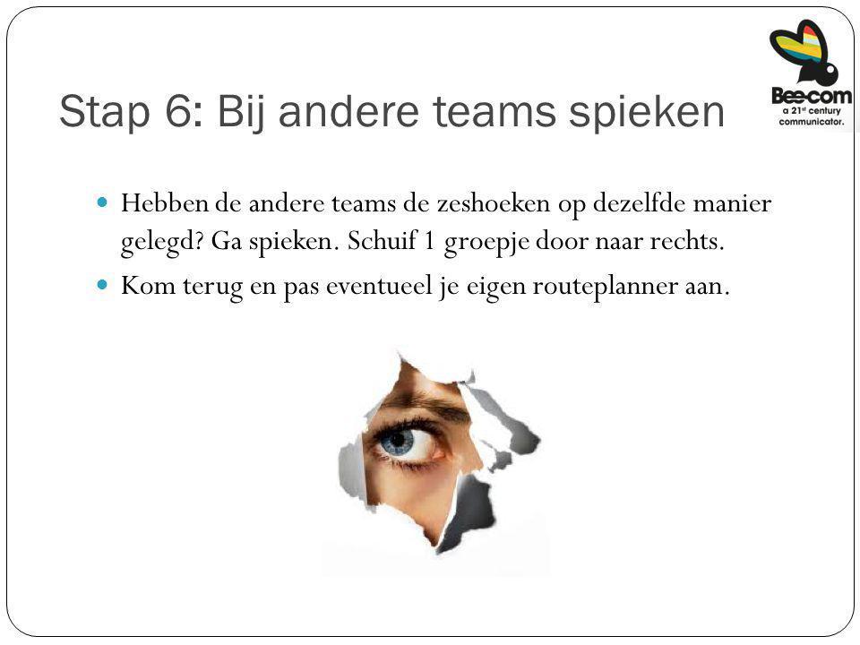 Stap 6: Bij andere teams spieken Hebben de andere teams de zeshoeken op dezelfde manier gelegd? Ga spieken. Schuif 1 groepje door naar rechts. Kom ter