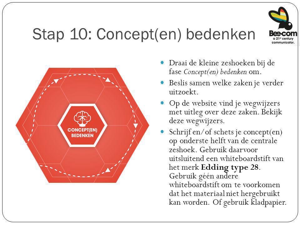 Stap 10: Concept(en) bedenken Draai de kleine zeshoeken bij de fase Concept(en) bedenken om. Beslis samen welke zaken je verder uitzoekt. Op de websit