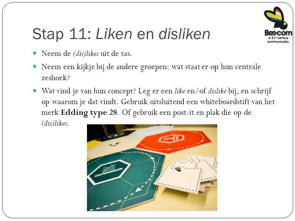 Stap 11: Liken en disliken Neem de (dis)likes uit de tas. Neem een kijkje bij de andere groepen: wat staat er op hun centrale zeshoek? Wat vind je van