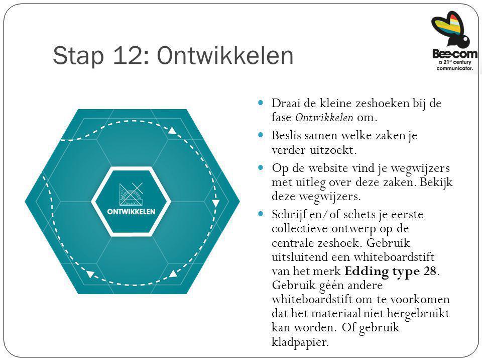 Stap 12: Ontwikkelen Draai de kleine zeshoeken bij de fase Ontwikkelen om. Beslis samen welke zaken je verder uitzoekt. Op de website vind je wegwijze