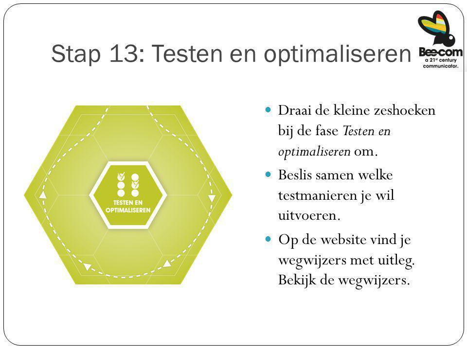 Stap 13: Testen en optimaliseren Draai de kleine zeshoeken bij de fase Testen en optimaliseren om. Beslis samen welke testmanieren je wil uitvoeren. O
