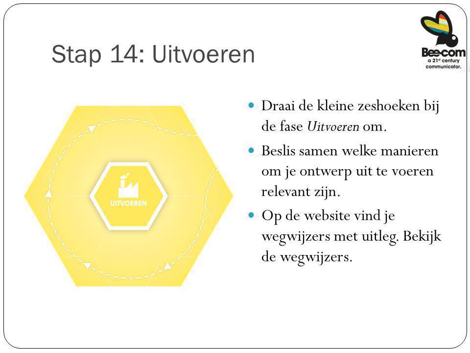 Stap 14: Uitvoeren Draai de kleine zeshoeken bij de fase Uitvoeren om. Beslis samen welke manieren om je ontwerp uit te voeren relevant zijn. Op de we