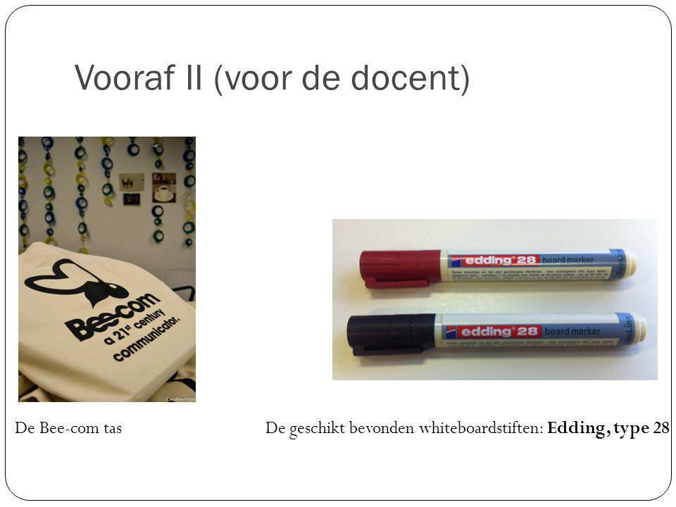 Vooraf II (voor de docent) De Bee-com tas De geschikt bevonden whiteboardstiften: Edding, type 28