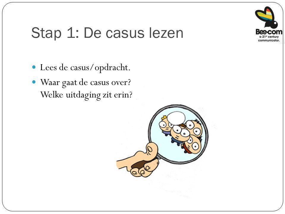 Stap 1: De casus lezen Lees de casus/opdracht. Waar gaat de casus over? Welke uitdaging zit erin?