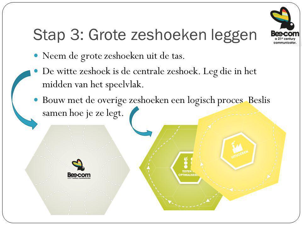 Stap 3: Grote zeshoeken leggen Neem de grote zeshoeken uit de tas. De witte zeshoek is de centrale zeshoek. Leg die in het midden van het speelvlak. B